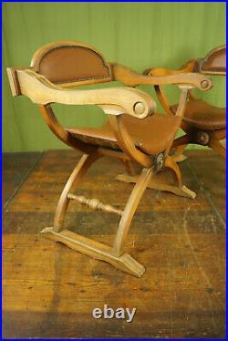 60er Vintage Scherenstuhl Leder Holz Sessel Easy Lounge Chair 1/2
