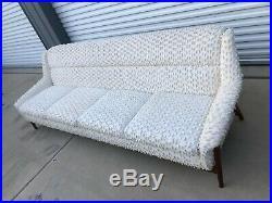 60s Mid Century Modern Dux of Sweden 8' sofa, funky needs refurbish