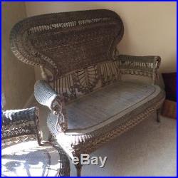 6 Piece Antique Wicker Furniture Set