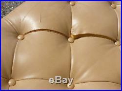 70's Tufted Tuxedo Chrome Base Leather Sofa Mid Century Modern Baughman Era