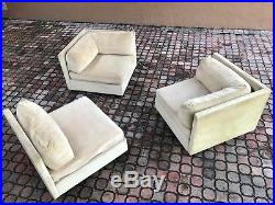 70's Vintage 3pc Selig Modular Sectional Sofa Mid Century Modern Baughman Era