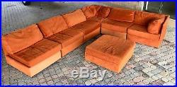 70's Vintage 7pc Selig Modular Sectional Sofa Mid Century Modern Baughman Era