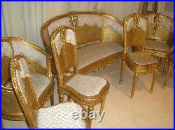 7 Pc Amazing Rare French Antique 19 Century Louis XVI Gilt Cane Carved Sofa Set