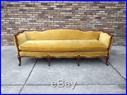 7ft French Gold Velvet Walnut Frame Sofa Meyer Gunther Martini Mid Century Baker