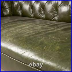 ANTIQUE 20thC VICTORIAN GREEN LEATHER CHESTERFIELD SOFA c. 1900