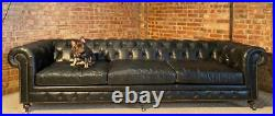 A Huge V Large Black Leather Chesterfield Sofa