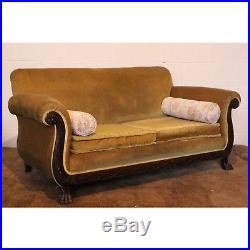 A Quality Victorian Carved Mahogany & Upholstered Scroll Arm Sofa Settee