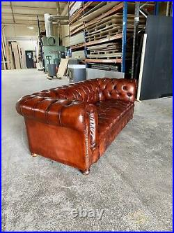 A Very Good Vintage Hand Dyed Leather Chesterfield Sofa Amazing patina