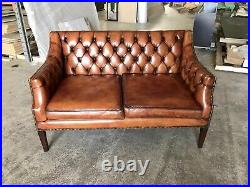 A Very Good Vintage Hand Dyed Leather Chippendale Style Sofa Amazing patina