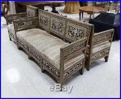 A set of Syrian couch and arm chairs inlaid with mother of pearls C. 19th Century