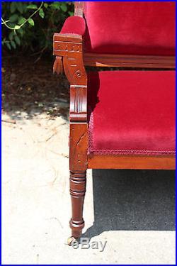 Adorable Walnut Victorian Eastlake Stick and Ball Red Velvet Loveseat Settee