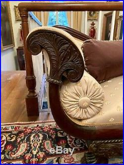 American Classical Empire Mahogany Recamier Chaise Lounge