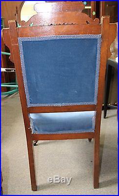 American Victorian Eastlake Parlor Set Settee and Side Chair in Blue Velvet