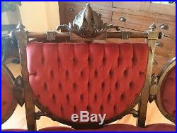 Antique 1800 Victorian Sofa Couch Settee Ornate Carved Red Tufted Revival Curved