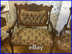 Antique 1800s Eastlake Victorian Settee Love Seat and Three Chairs CSB5