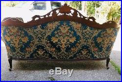 Antique 1800s Sofa & Two Chairs French Italian Victorian Carved Ornate Large Set