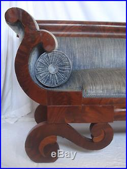 Antique 1840s Victorian Empire Rococo Scroll Foot Flame Mahogany Bench Sofa