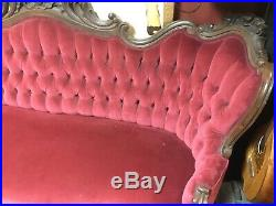 Antique 1860s Victorian Rosewood Sofa Couch. Beautiful And Stunning! Seven Feet
