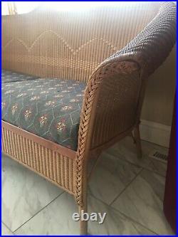 Antique 1920s art deco vintage Lloyds Loom wicker sofa original finish