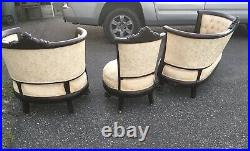 Antique 3 Pc Parlor Set 1860s Rosewood Victorian Clawfoot Ornate Carved Bombay