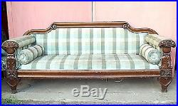 Antique American Classical Empire Carved Mahogany Sofa By Anthony Quervelle