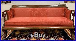 Antique American Empire Bespoke Sofa Mahogany Red Silk