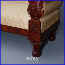 Antique American Empire Carved Flame Mahogany Quervelle School Sofa, circa 1830