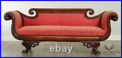 Antique American Empire Classical Carved Mahogany Sofa