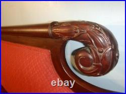 Antique American Empire Eagle Wing Talon Carved Claw Foot Mahogany Sofa