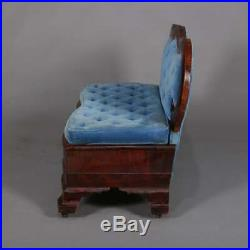 Antique American Empire Quervelle School Mahogany & Velvet Slipper Sofa