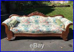 Antique American Empire Sofa Couch Flame Mahogany Carved Crest 1850s W. Chicago