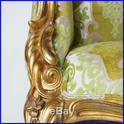 Antique American S. Karpen & Brothers Art Nouveau Gilt Upholstered Sofa c. 1905