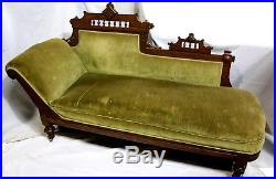 Antique American Victorian Eastlake Fainting Couch in Walnut & Velvet, c. 1883