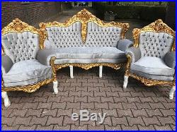 Antique Baroque Set Italian Style Sofa Couch With Two Chairs (3 ...