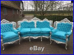 Antique Beautiful Sofa/couch Settee And Two Chairs In Unique Design