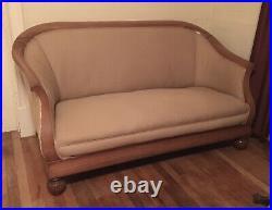 Antique Biedermeir Settee Sofa Loveseat Parlor Carved Jacquard Upholstered 19thc