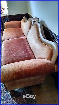 Antique Camel Back Sofa Wood Frame & Red Velvet Upholstery