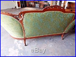 Antique Carved Art Nouveau Sofa, Couch, Settee With Down Feather Single Cushion
