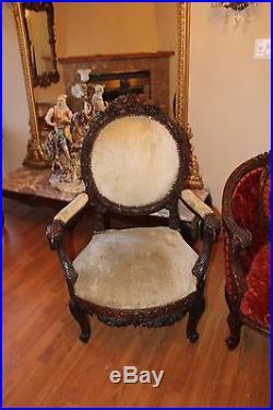 Antique Carved Birds Flower Ram Head 4 Pieces Victorian Parlor Suite Sofa Chair