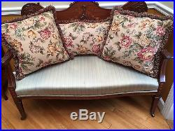 Antique Carved Inlaid Settee Sofa plus 3 Floral Throw Pillows