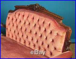 Antique Carved Walnut Couch c. 1860