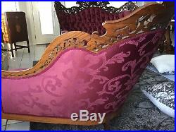 Antique Chaise & Sofa Victorian Rosewood J&J Meeks Stanton Hall Pattern 1850s