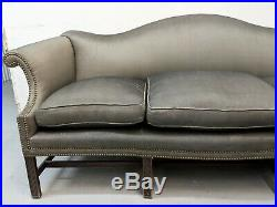 Antique Charcoal Gray Silk Chippendale Camel Back Sofa Down Feather Regency vtg