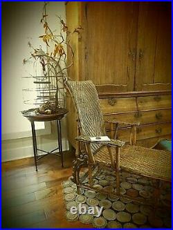 Antique Circa 1910 Tightly Woven Chaise Lounge Adjustable- Gorgeous