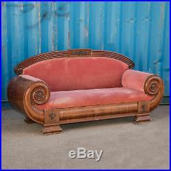 Antique Danish Biedermeier Mahogany Sofa with Heavily Curved Arms