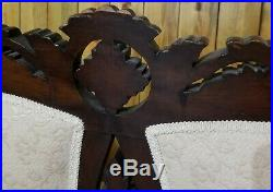 Antique Eastlake Victorian Carved Walnut Sofa Love Seat Settee 65