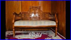 Antique Eastlake Victorian Parlor Settee Bench Sofa Carved Wood Ornate Entry Old
