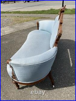 Antique Eastlake Victorian Parlor Settee Sofa Couch Carved Blue 1800s Ornate Old