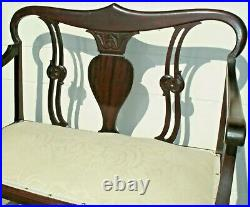 Antique Edwardian Carved Mahogany Settee