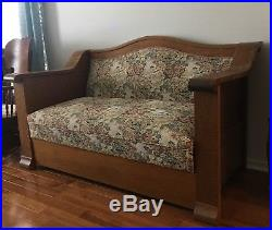 Antique Empire Mission Style Oak Sofa Loveseat Fold-out Bed Daybed Early 1900's
